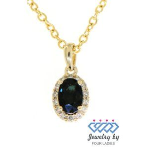 Blue Sapphire Diamond Oval Pendant 14K Yellow Gold